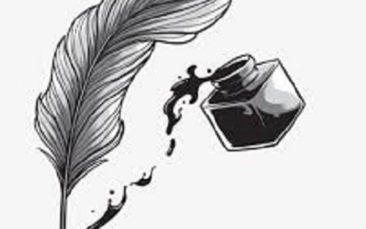 black and white image of inkwell and pen