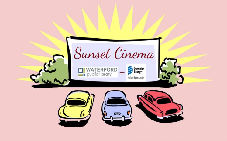 pink background image with 3 cars in front of white movie screen; yellow sun comes up from behind image